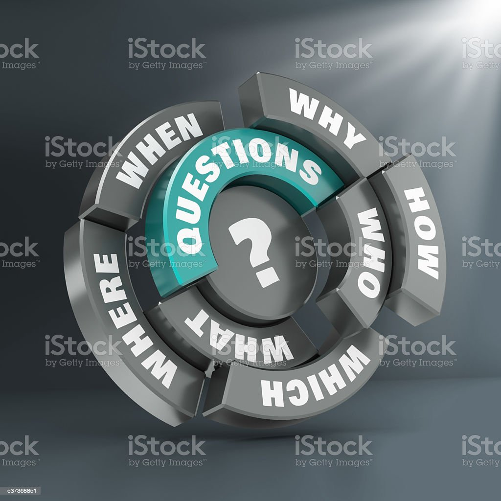3D render of grey-green questions graphs and charts stock photo