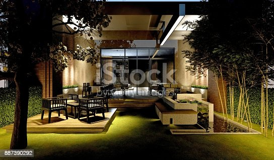 585292106 istock photo 3D render of house exterior 887390292