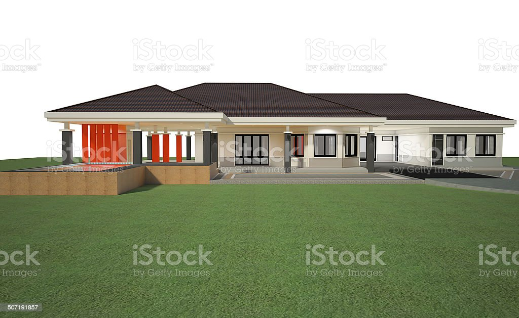 3D render of house royalty-free stock photo