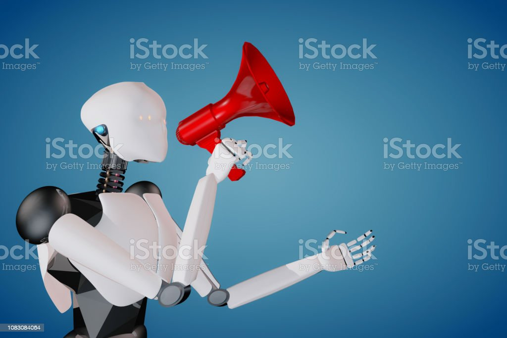 3D render of humanoid artificial intelligence robot holding a red megaphone announcing politely stock photo