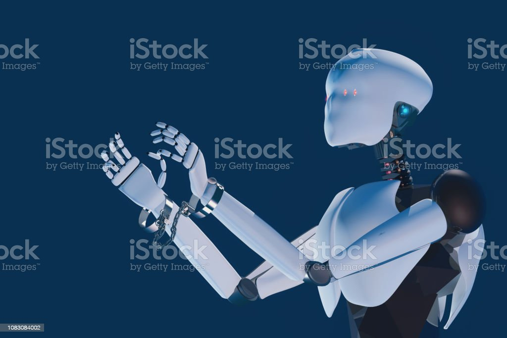 3D render of humanoid artificial intelligence robot slaved by handcuffs on the wristsclamps stock photo