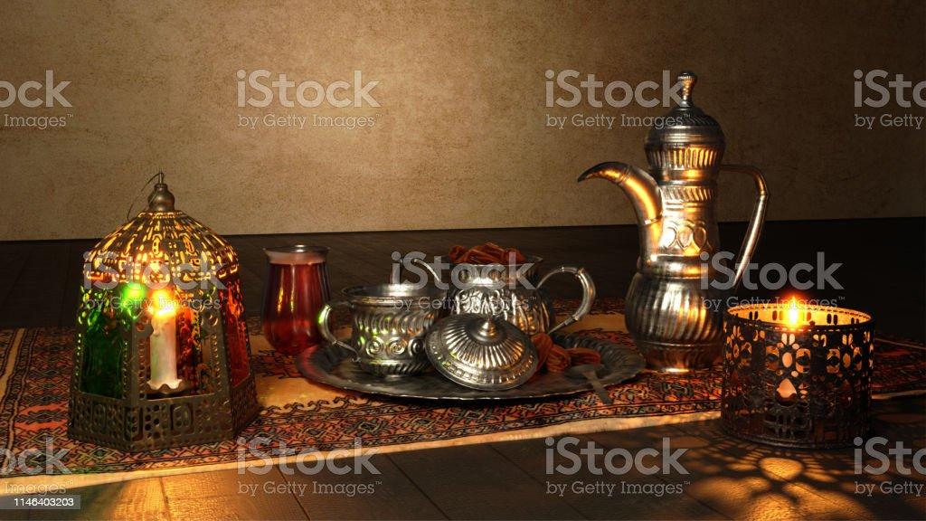 3D render of Iftar celebration utensil elements kept on Islamic...