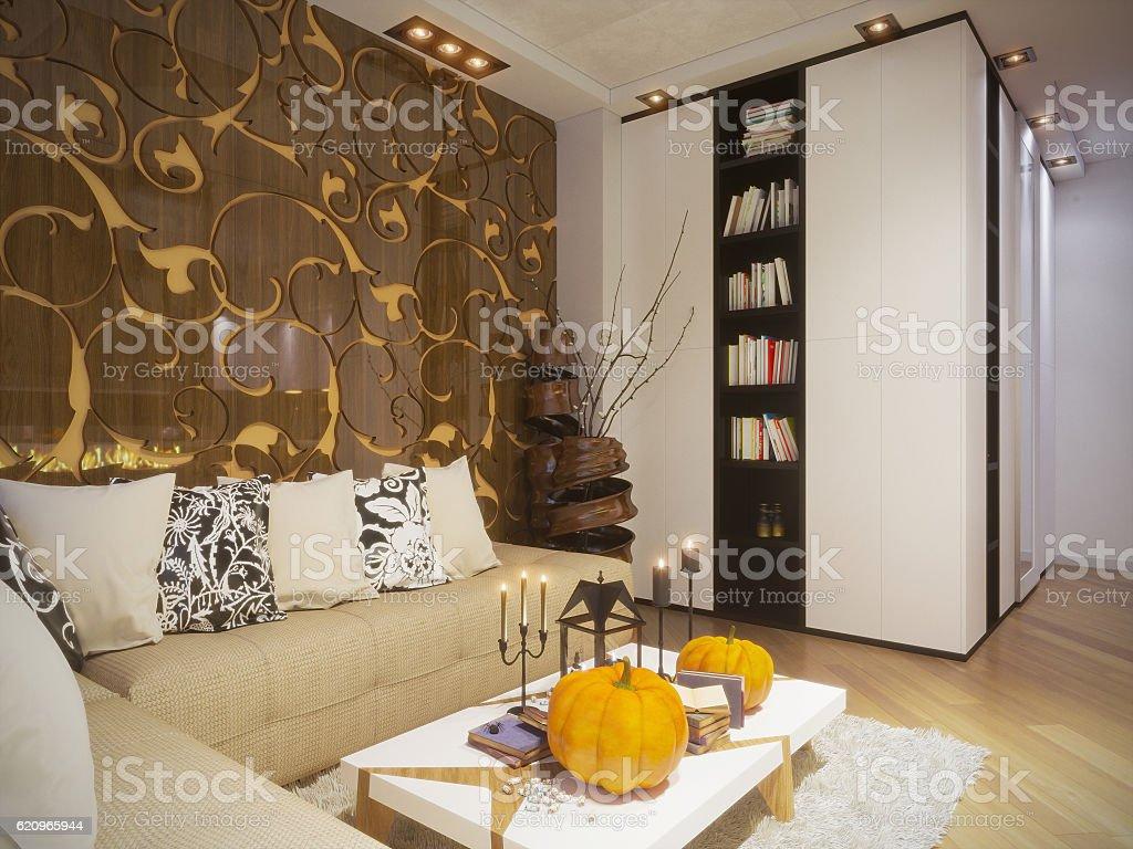 Render of interior design living room stock photo