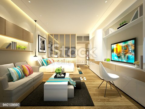 istock 3D render of Living and Dining Room 940109592