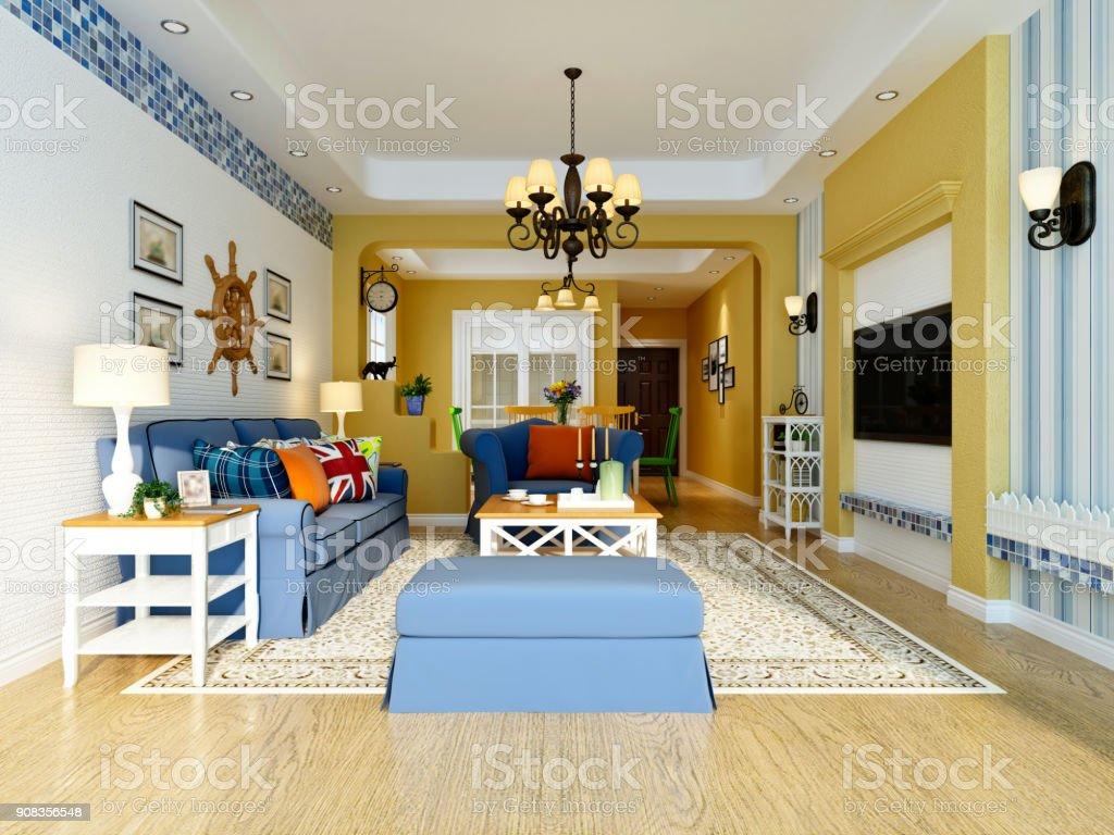 Photo libre de droit de Rendu 3d De Salon banque d\'images et ...