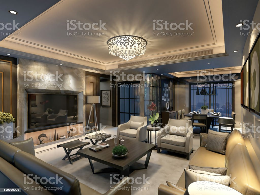 3D Render of luxury home stock photo
