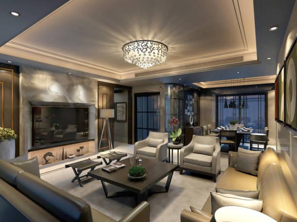 3d render of luxury home - żyrandol sprzęt oświetleniowy zdjęcia i obrazy z banku zdjęć