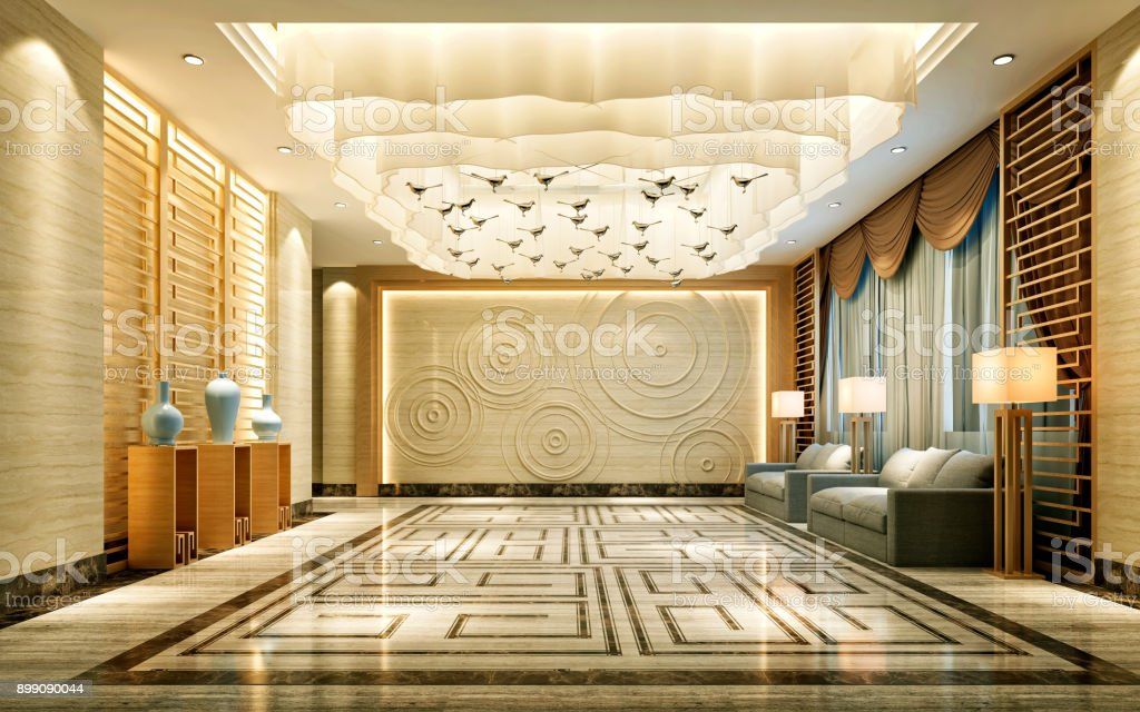 3D Render of luxury hotel entrance stock photo