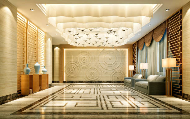 Rendu 3D d'entrée de l'hôtel de luxe - Photo