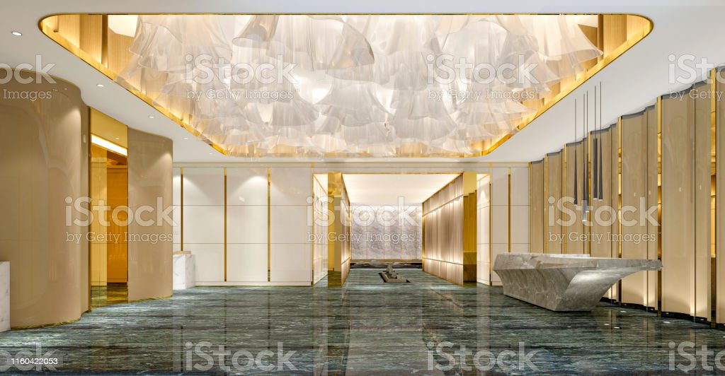 3d Render Of Luxury Hotel Lobby And Reception Stock Photo
