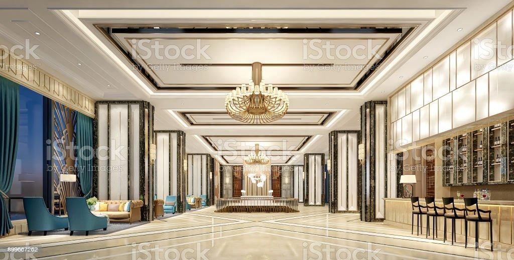 3D Render of luxury hotel lobby stock photo