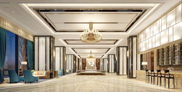 3D Render of luxury hotel lobby stock photo