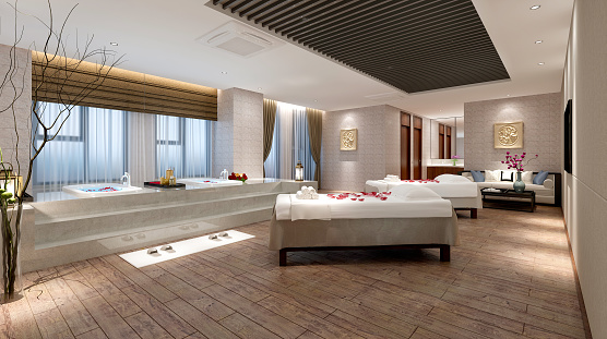 3D Render of luxury spa and massage room