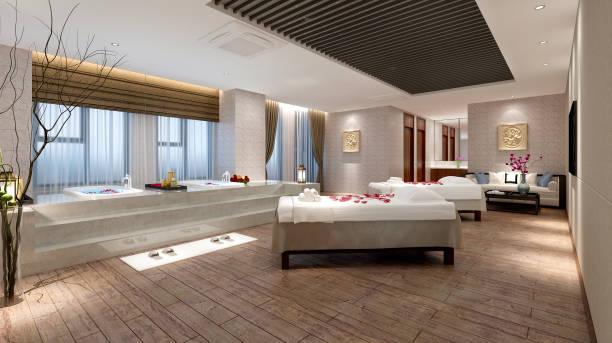 renderização 3d de luxo spa e sala de massagem - comodidades para lazer - fotografias e filmes do acervo