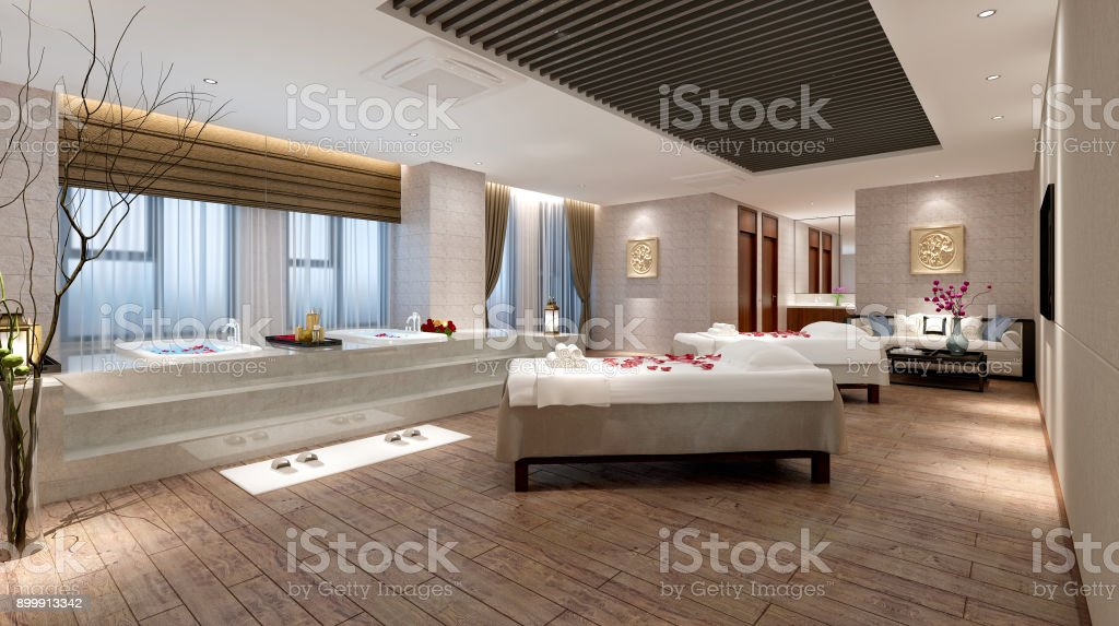 3D Render of luxury spa and massage room stock photo