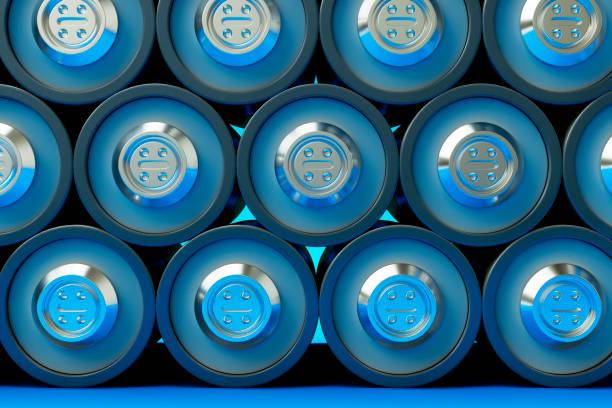 3D Render viele Lithium-Zellen-Akkus. Lagerung von glänzend wieder aufladbare Akkumulatoren. – Foto