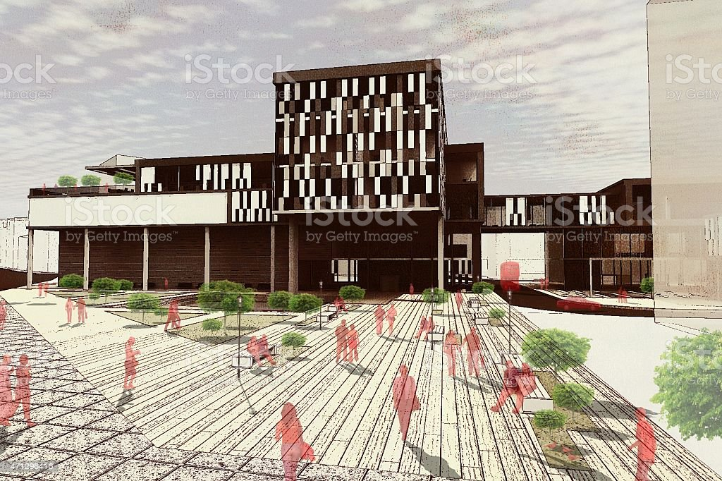 3D Render of Modern Building Design and Enviroment stock photo