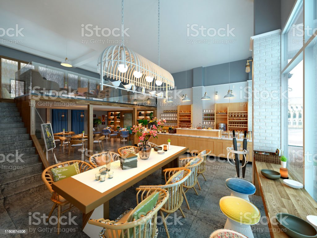 3d Render Of Modern Cafe Restaurant Interior Stock Photo Download Image Now Istock
