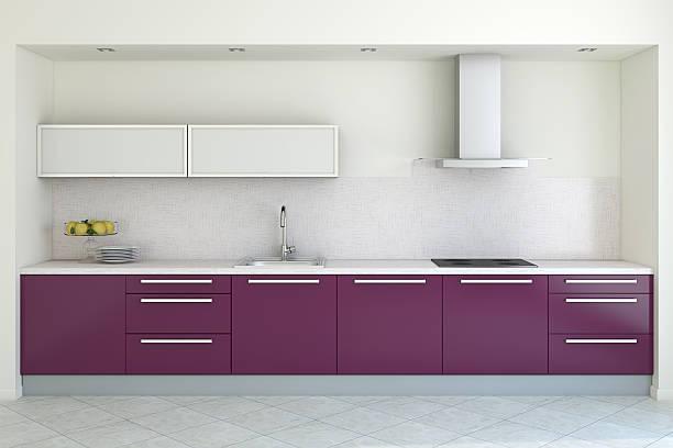 3 d render des modernen küche mit lila schränke - küche lila stock-fotos und bilder