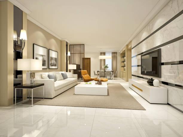 3d render des modernen wohnzimmer oder hotelzimmer - türkische fliesen stock-fotos und bilder