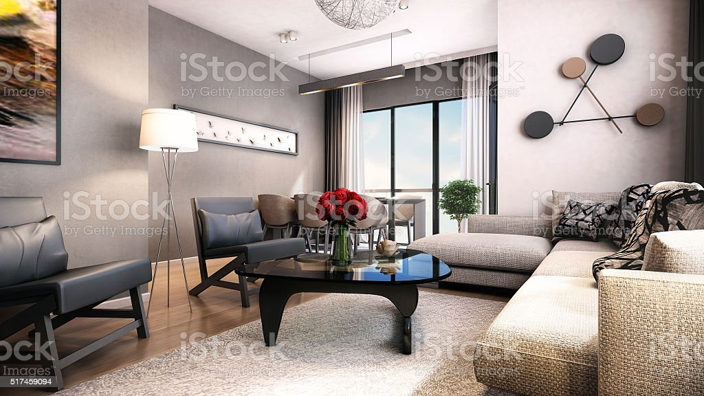 3D Render of modern living room stock photo