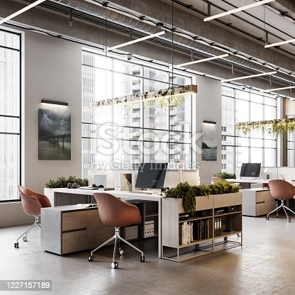 Computer generated image of an office interior. Modern office desk with plants. Eco friendly office interior.