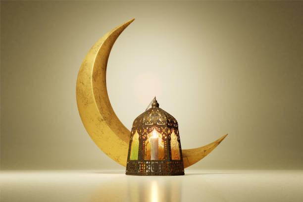 3d render van de maan en verlichte lantaarn op glanzende muur vloer reflectie achtergrond. - ramadan stockfoto's en -beelden