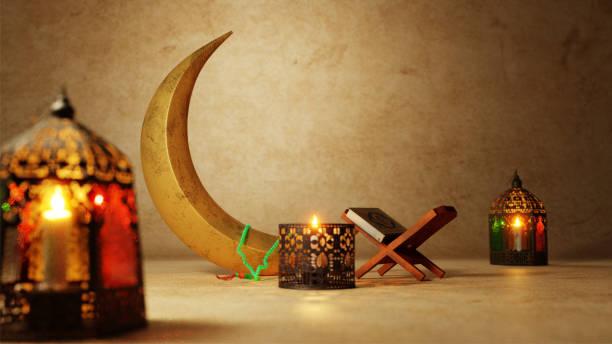 3d render de los elementos del festival musulmanes y rehal (libro del corán) en el fondo de la textura de la pared marrón. - ramadán fotografías e imágenes de stock