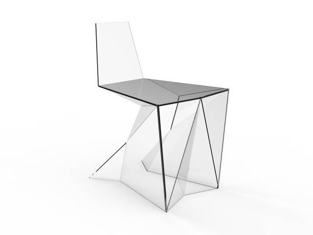 3 d 折り紙コンセプト チェア ホワイト バック グラウンドでのレンダリングします。 - 椅子 家具 ストックフォトと画像