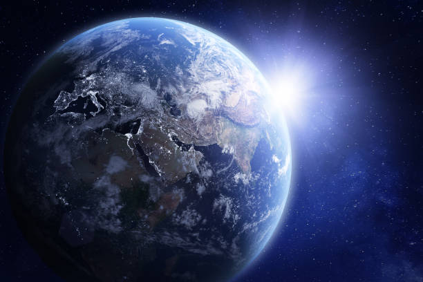 3d render of planet earth from space, elements from nasa - copy space stock pictures, royalty-free photos & images