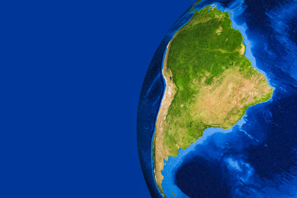 3D render of planet Earth with South America in main focus. Rendered using Graphic Earth Bundle by DAZ Studios and NASA.gov textures. latin america map stock pictures, royalty-free photos & images
