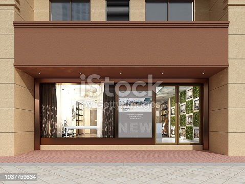 585292106 istock photo 3D render of store in shopping mall 1037759634