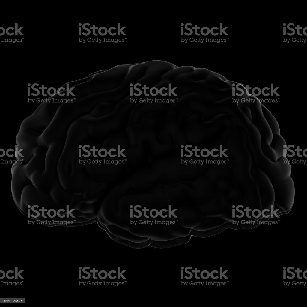 3D Render of the brain. Side view. stock photo