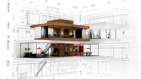 Render of the design of a contemporary house – housing project concepts