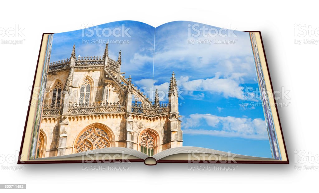 3D render of the detail of the facade of Batalha cathedral in Portugal (Europe) - I'm the copyright owner of the images used in this 3D render. stock photo