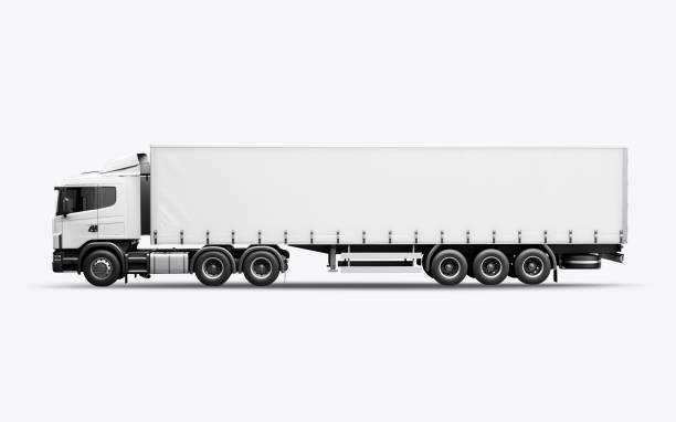 3d render of the truck for mock-up on a white background - side view stock photos and pictures