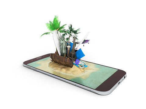 istock 3D render of tropical island resort with blue sea ocean water sand beach and palm trees on smartphone screen Travel tourism and holidays and vacations online booking app concept 695519540