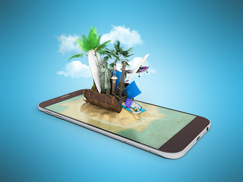 istock 3D render of tropical island resort with blue sea ocean water sand beach and palm trees on smartphone screen Travel tourism and holidays and vacations online booking app concept 695915766