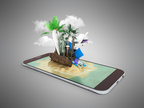 istock 3D render of tropical island resort with blue sea ocean water sand beach and palm trees on smartphone screen Travel tourism and holidays and vacations online booking app concept 696303800