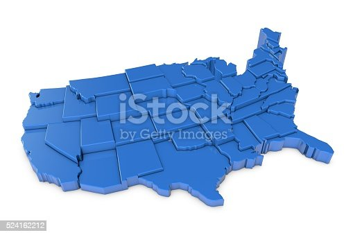 istock 3D render of USA map with states 524162212