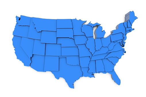 istock 3D render of USA map with states 524162234