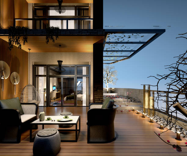 3D Render of villa's terrace with night view stock photo