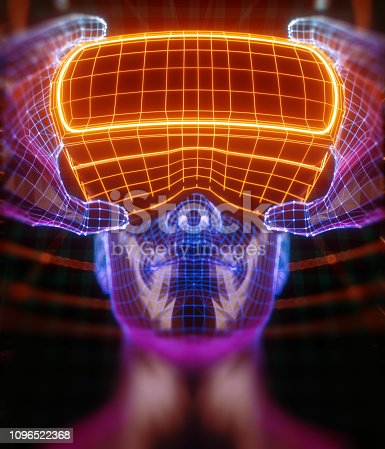 istock 3D render of virtual man holding virtual reality glasses surrounded by virtual data with neon orange lines and dots. Player begins the VR game. VR experience. View with depth of field. 1096522368