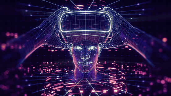 istock 3D render of virtual man holding virtual reality glasses surrounded by virtual data with neon ultraviolet lines. Player begins the VR game. VR experience. 1096522538