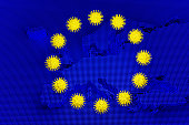 istock 3D render: Outbreak of new Coronavirus 2019-nCoV in Europe - Schematic image of viruses of the Corona family on a blue image of a europe map imitating the stars on the european union flag 1204190256