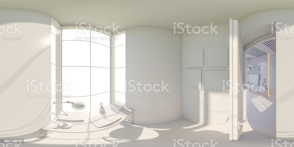360 render panorama interior design living room stock photo