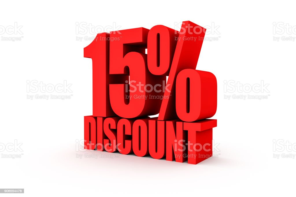 3D render red text 15 percent discount stock photo