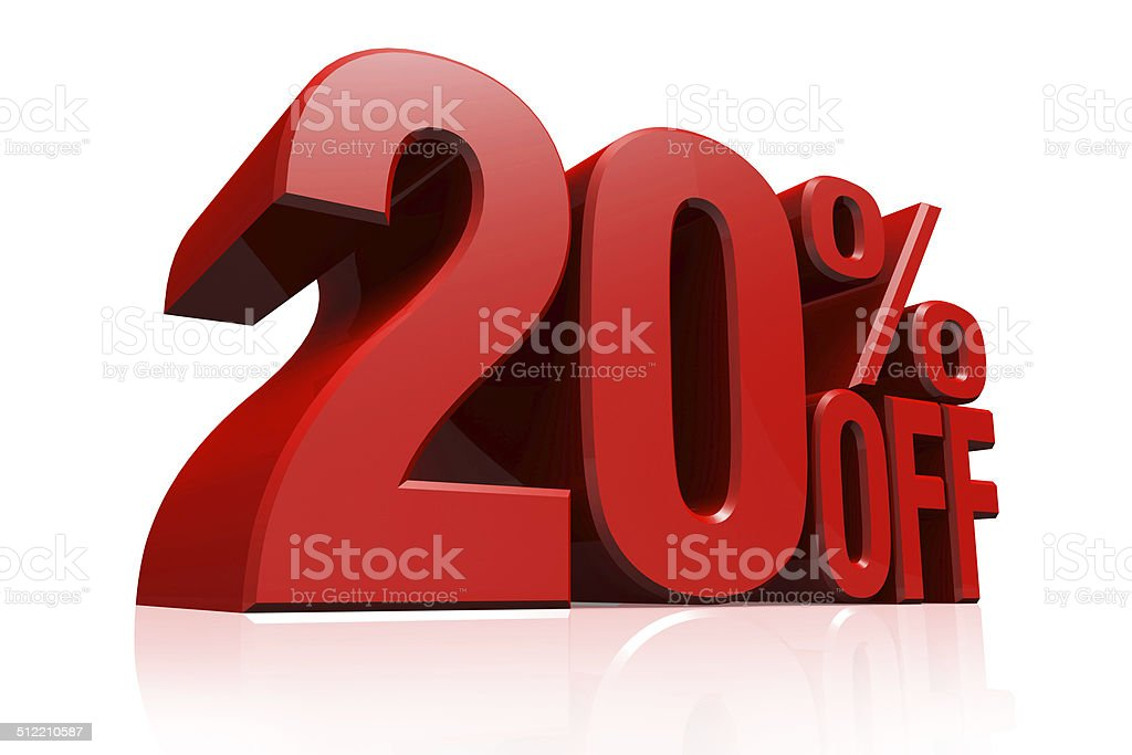 3D render red text 20 percent off. stock photo