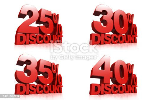 906580458 istock photo 3D render red text 25,30,35,40 percent discount 512154529