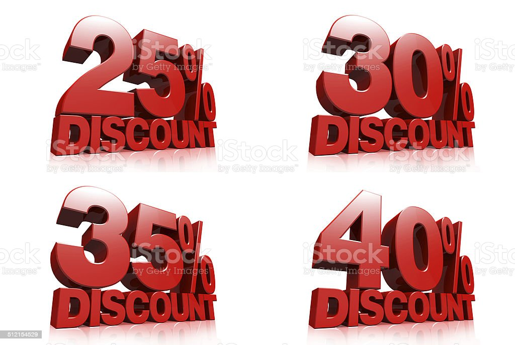 3D render red text 25,30,35,40 percent discount stock photo